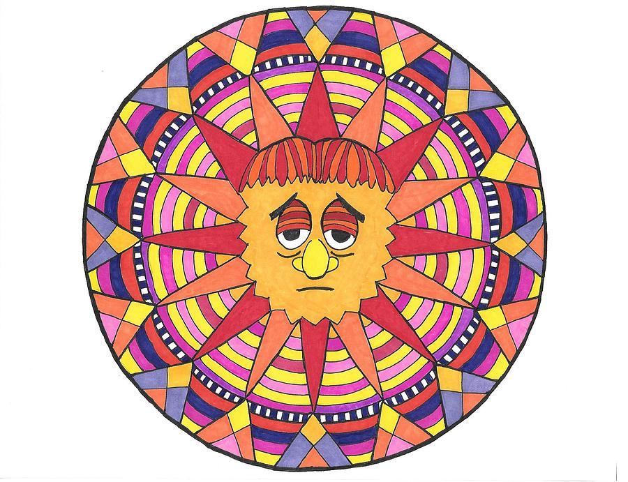 Mandala Drawing - Sad Sunny by Roberta Dunn