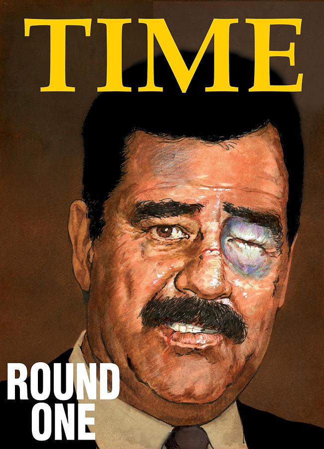 Saddam Drawing - Saddam by Harold Shull