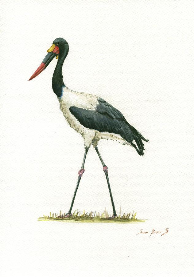 Saddle Billed Stork Painting - Saddle Billed Stork by Juan Bosco