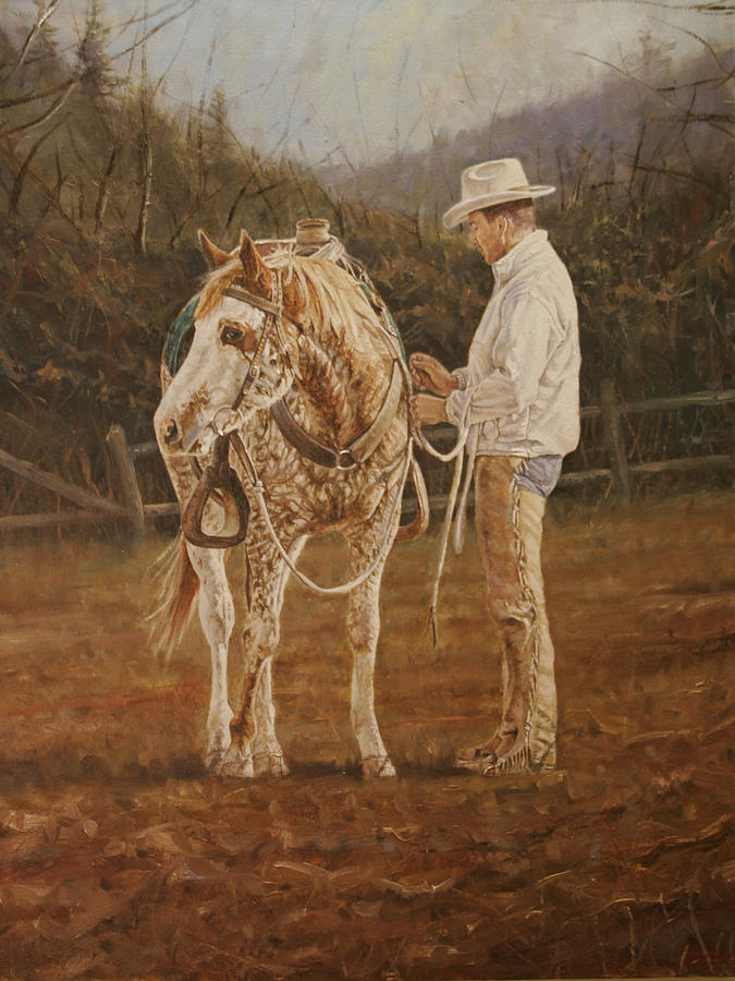 Western Painting - Saddling Up by Jason  Swain