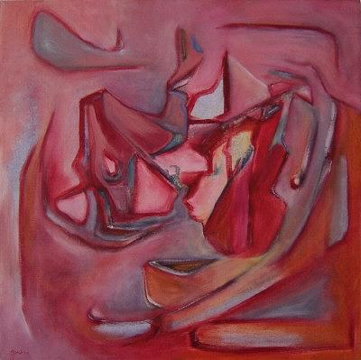 Red Painting - Sadness For The Bull by Scott Spencer