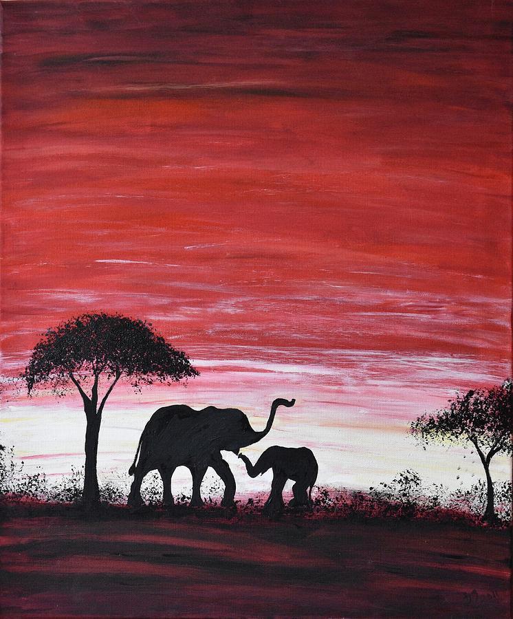 Safari Sunset Painting Elephants Sunset Original Painting Painting ...
