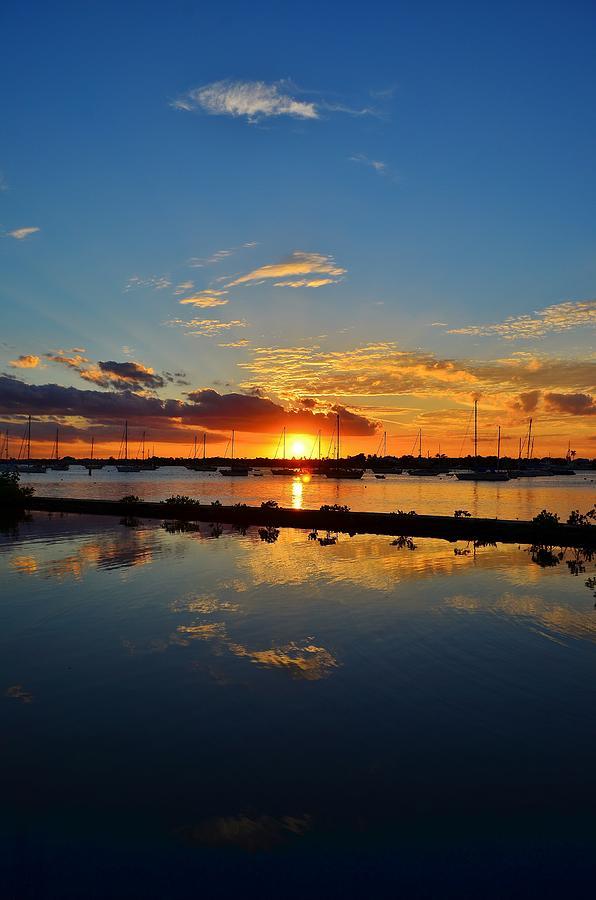 Sailboat Sunset Horizon Reflection Color Nautical Harbor Anchorage Boat  Photograph - Safe Harbor by Bo Chambers