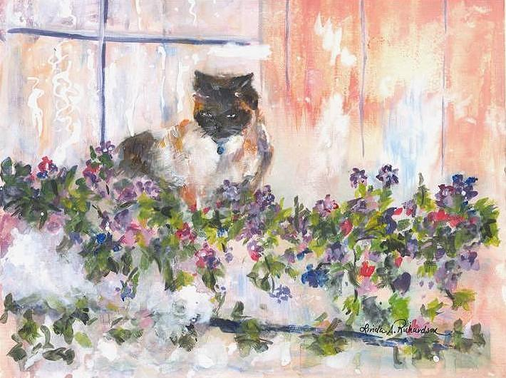 Cats Painting - Safe In My Flowerbox by Linda Richardson