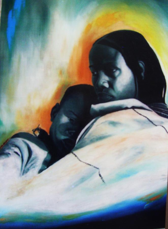 Love Painting - Safe In The Arms Of Love by Eziagulu Chukwunonso
