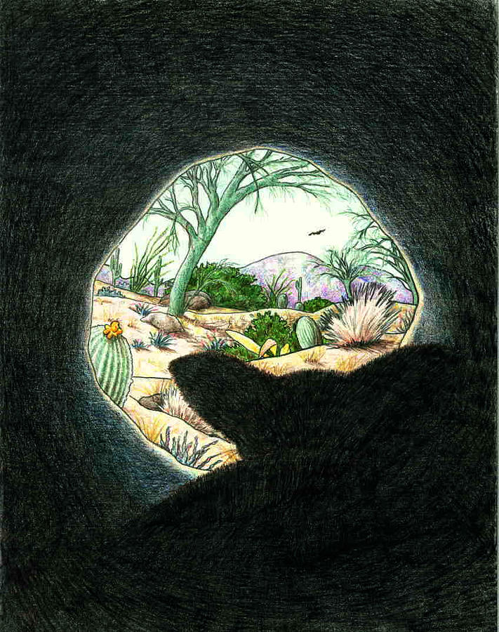 Animal Drawing - Safe In The Den by Theresa Higby