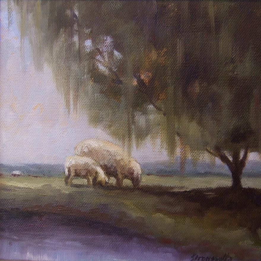 Sheep Painting - Safe Pasture by Ruth Stromswold