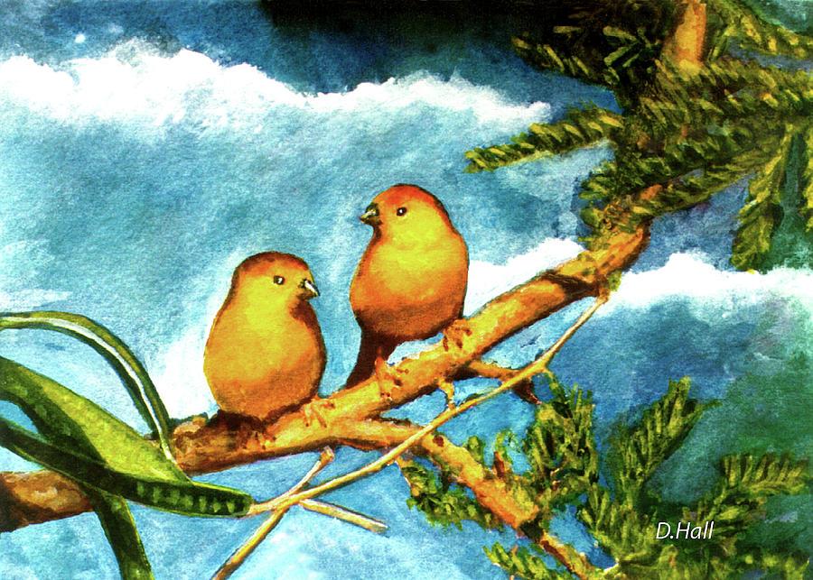 Hawaiian Artist Painting - Saffron Finch Birds #88 by Donald k Hall
