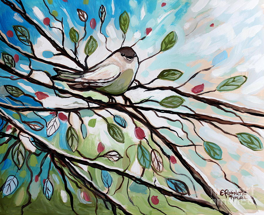 Birds Painting - Sage Glimmering Songbird  by Elizabeth Robinette Tyndall