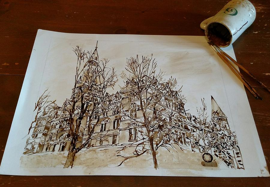 Cornell Business School Painting - Sage Hall  by Nathanael Manzer