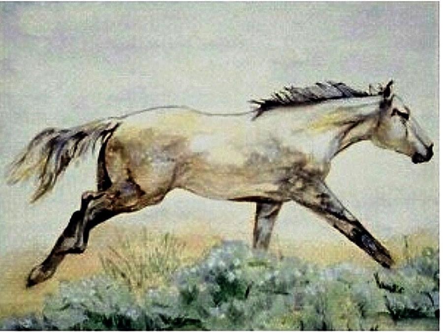 Quarter Horse Painting - Sage Runner by Debra Sandstrom