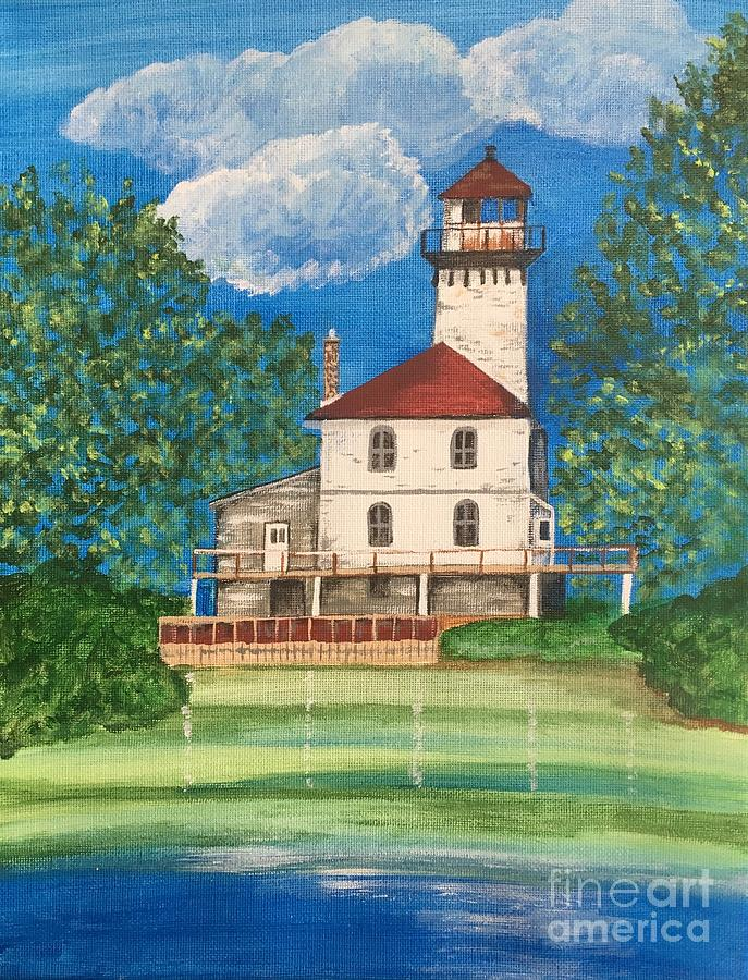 Lighthouse Painting - Saginaw River Light by Lindsay Smith
