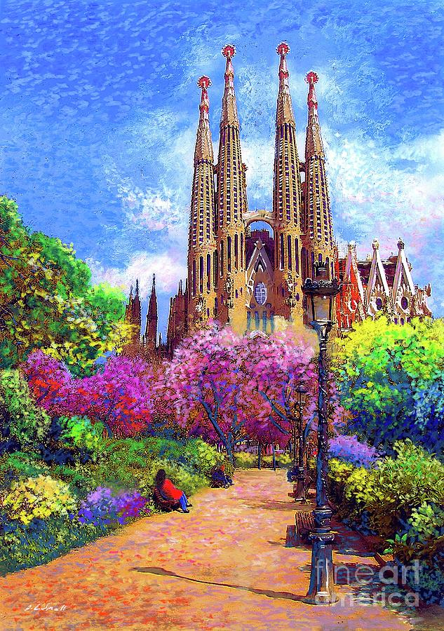 Spain Painting - Sagrada Familia and Park Barcelona by Jane Small