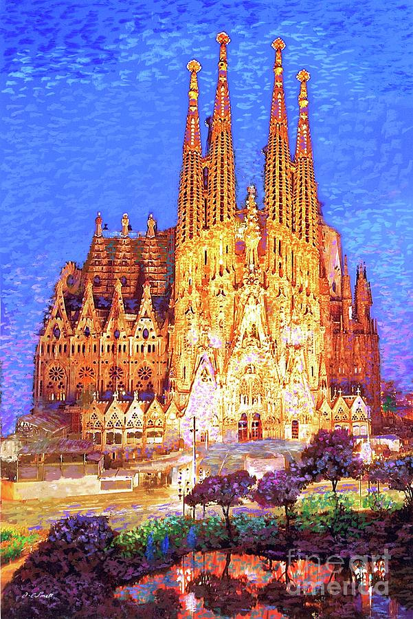 Spain Painting - Sagrada Familia At Night by Jane Small