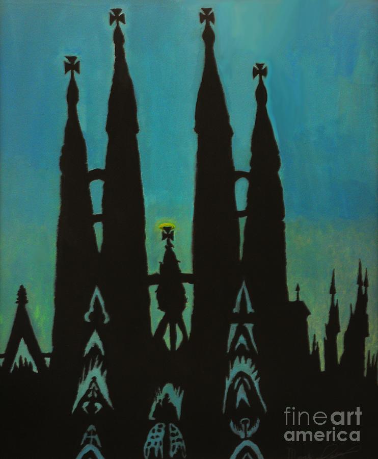 La Sagrada Familia Painting - Sagrada Shadows by Mark Lopez