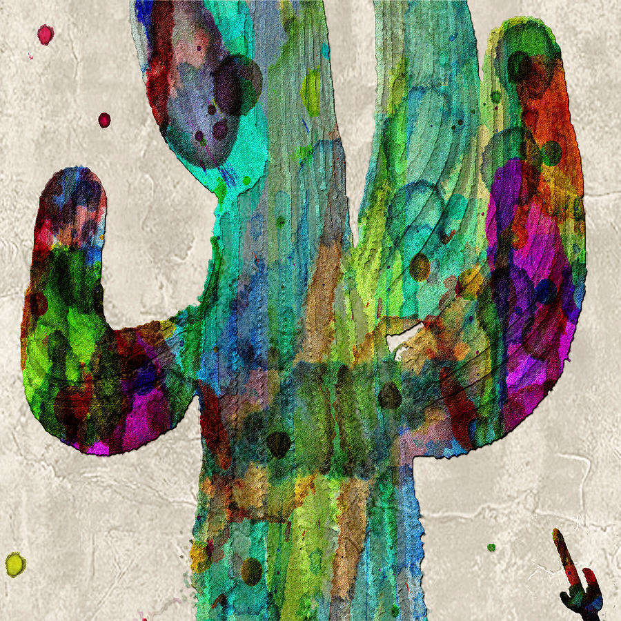 saguaro cactus rainbow print poster painting by robert r splashy art