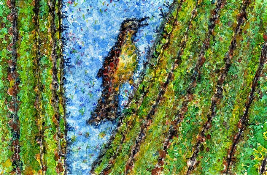 Watercolor Painting - Saguaro Cactus With Woodpecker by Cynthia Ann Swan