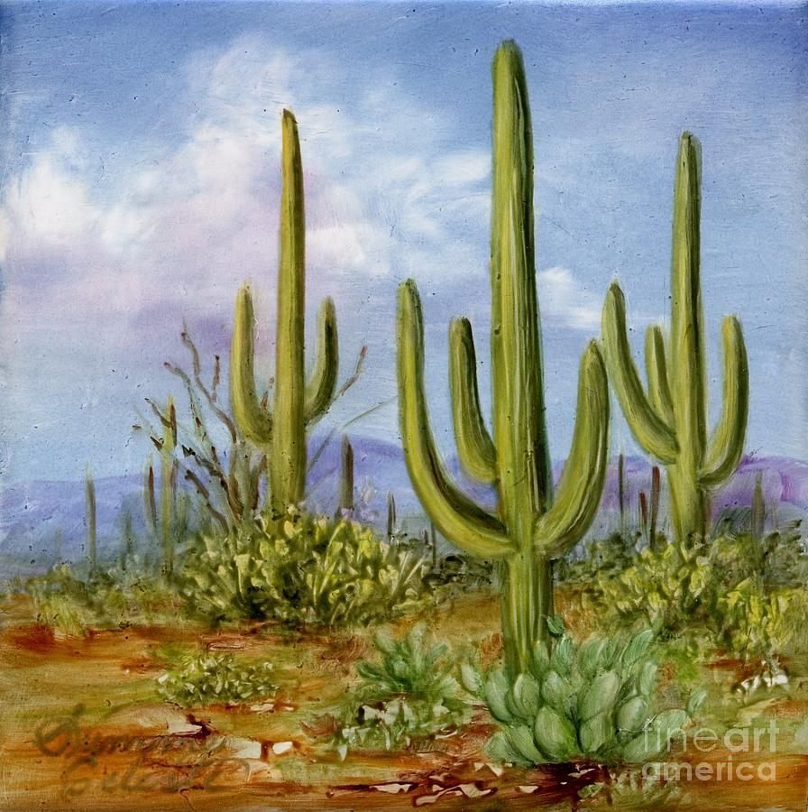 Southwest Painting - Saguaro Scene 1 by Summer Celeste