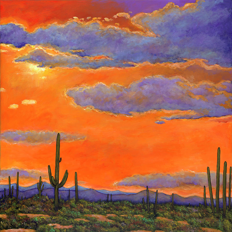 Arizona Painting - Saguaro Sunset by Johnathan Harris