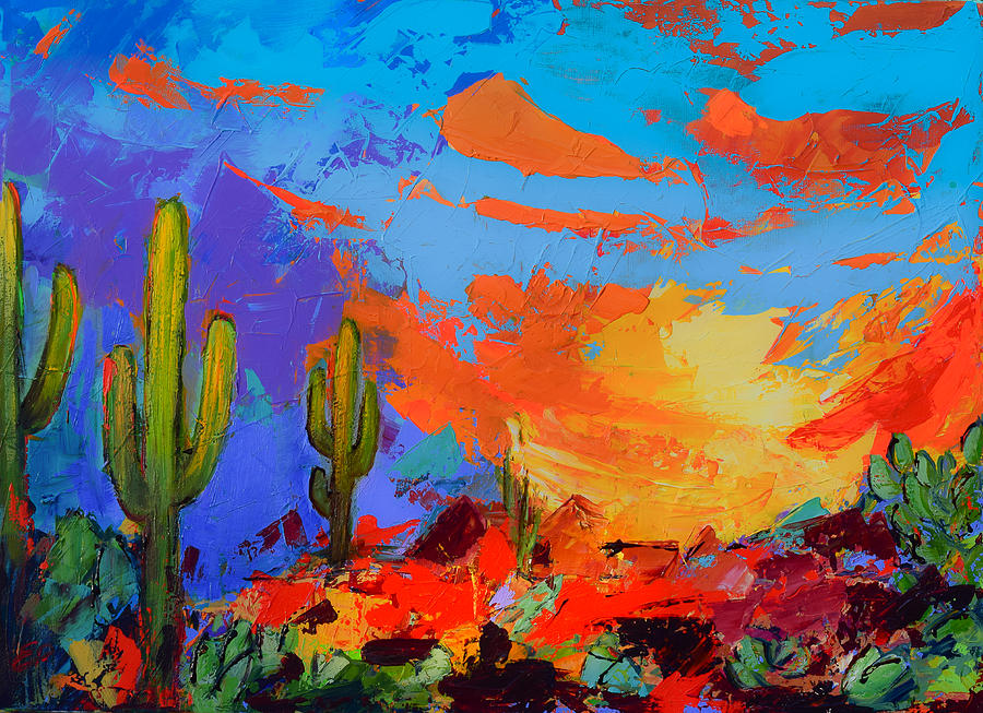 Saguaros Land Sunset by Elise Palmigiani