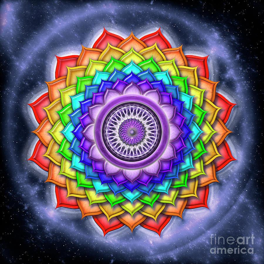 Chakra Digital Art - Sahasrara Chakra - Series Open Chakra Rainbow Colors by Dirk Czarnota