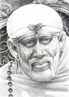 Sai Baba Drawing by Balanmurugan Jeevarathinam
