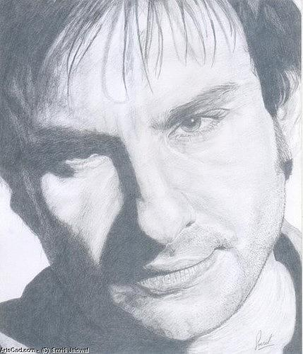 Celebrity Drawing - Saif Ali Khan by Smriti Jaiswal