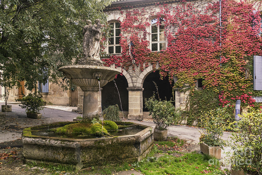 Provence Photograph - Saignon Fountain Provence  by Juergen Held