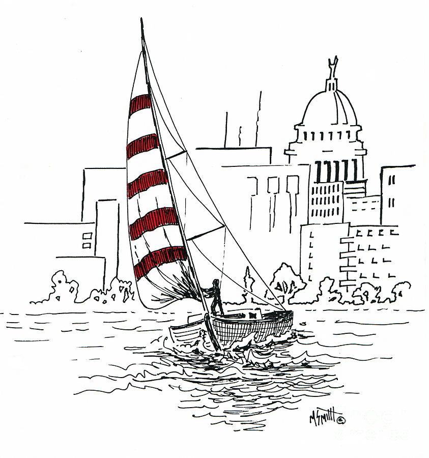 Sail Boat Drawing - Sail Away by Marilyn Smith