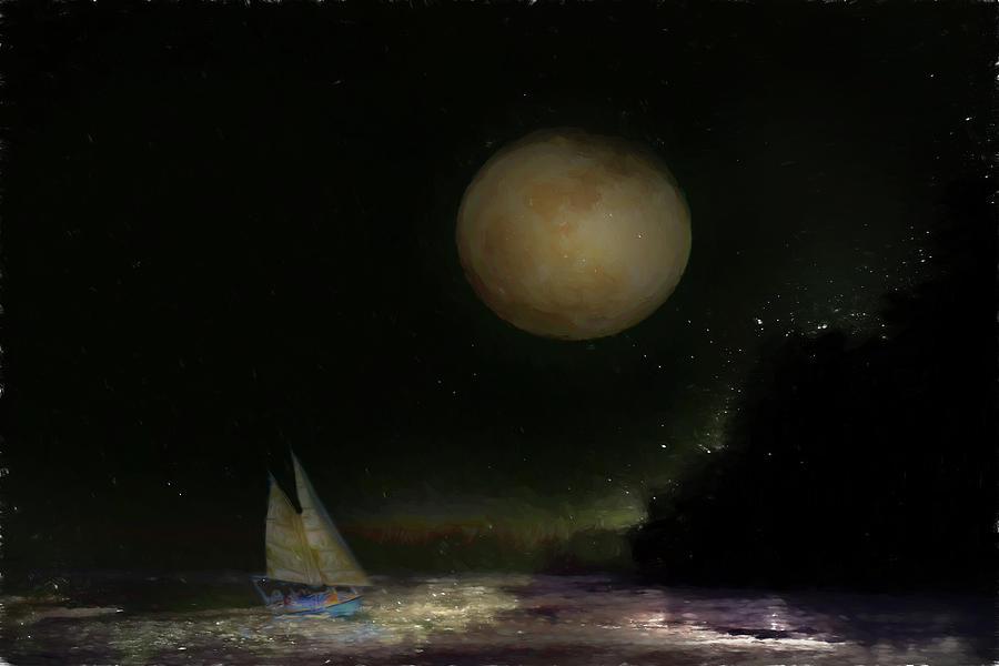 Moon Digital Art - Sail Away on a Moonbeam by Jolynn Reed