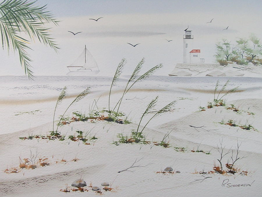 Seascape Painting - Sail Boat And Sea Oat 1 by Richard Schoessow