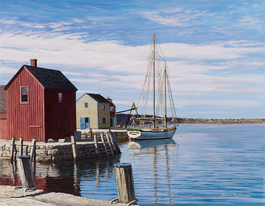 Boat Painting - Sail Boat At Rockport by Bruce Dumas