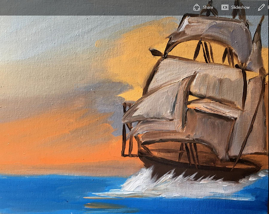 Sail Boat Painting - Sail Boat At Sunset by Ramya Sundararajan