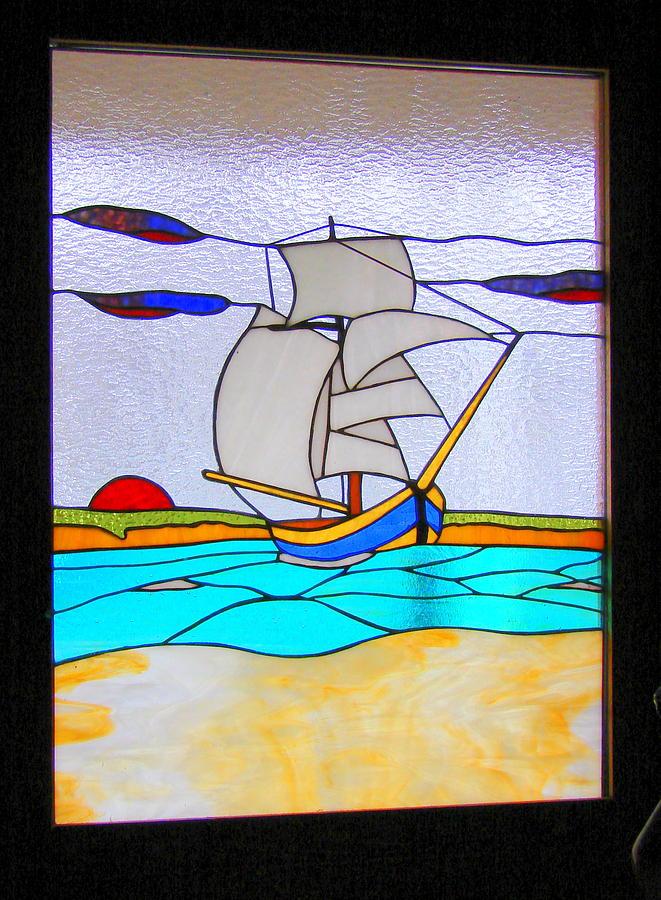 Sail Boat Glass Art by Traverse Artglass