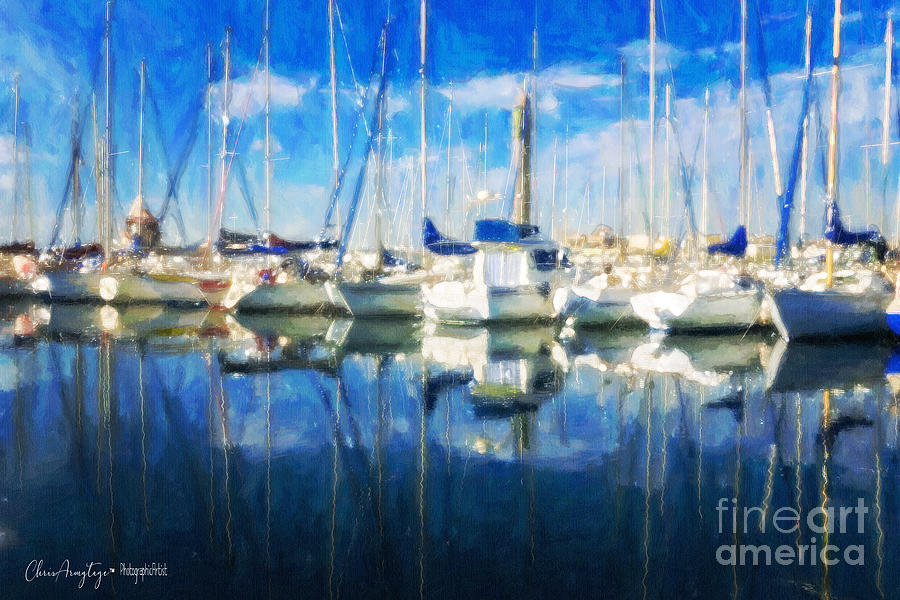 Blue Painting - Sail Boats In Port by Chris Armytage