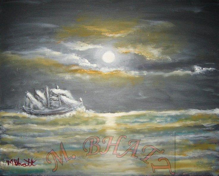 Ocean Painting - Sail In Moonlight by M Bhatt