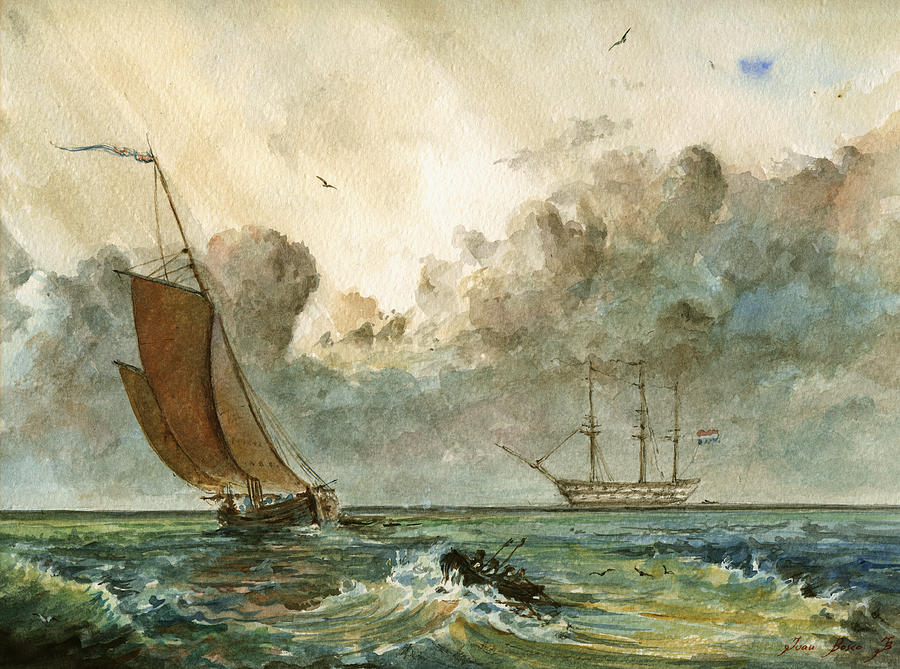 Sail Ships Painting - Sail Ships by Juan  Bosco