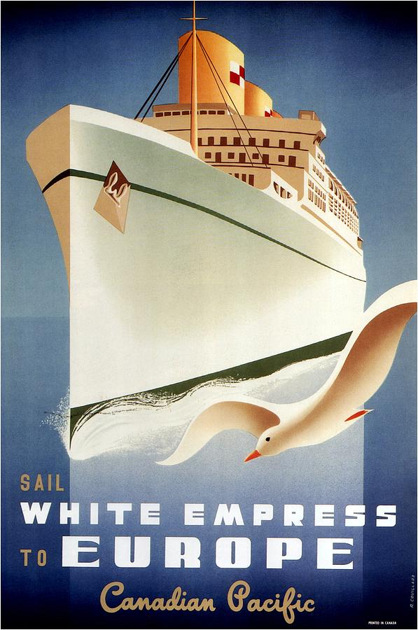 Canadian Pacific Mixed Media - Sail White Empress To Europe - Canadian Pacific - Retro Travel Poster - Vintage Poster by Studio Grafiikka