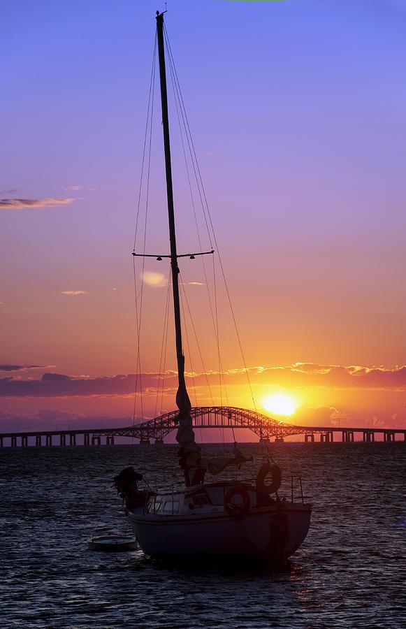 Sailing Photograph - Sailboat And The Bridge At Sunrise by Vicki Jauron