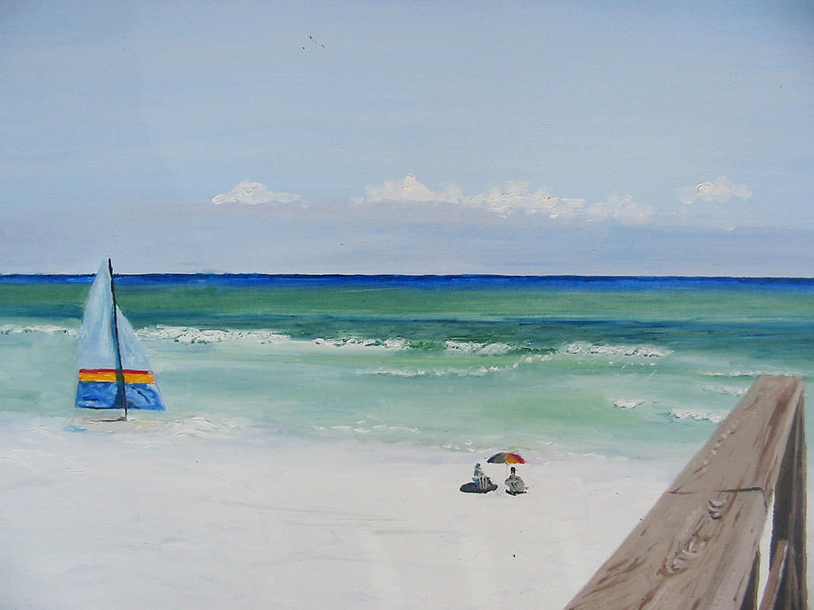 Seascape Painting - Sailboat At Blue Mountain Beach by John Terry