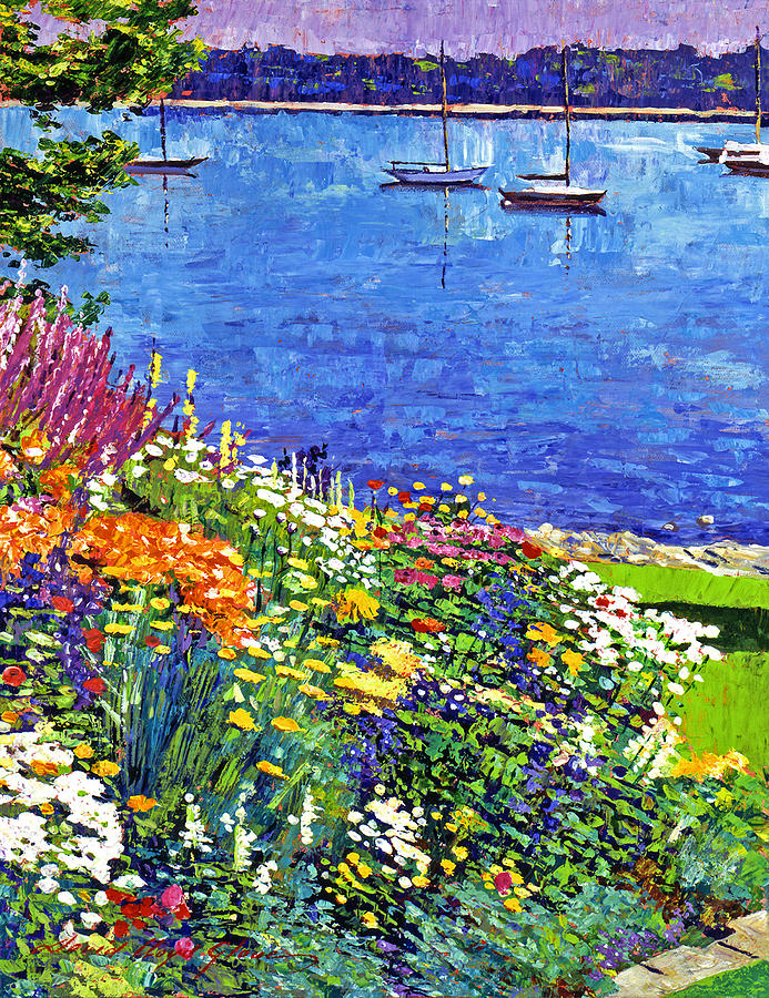 Impressionist Painting - Sailboat Bay Garden by David Lloyd Glover