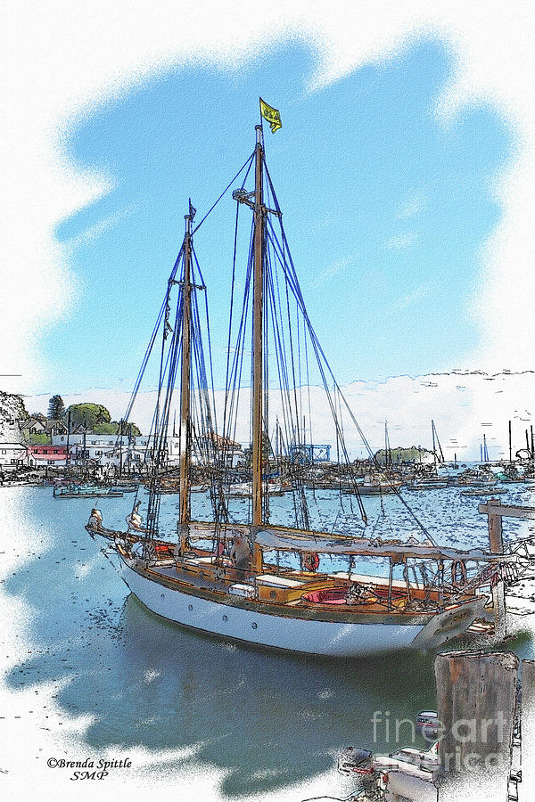 Sailboat Photograph - Sailboat Docked In Camden by Brenda Spittle