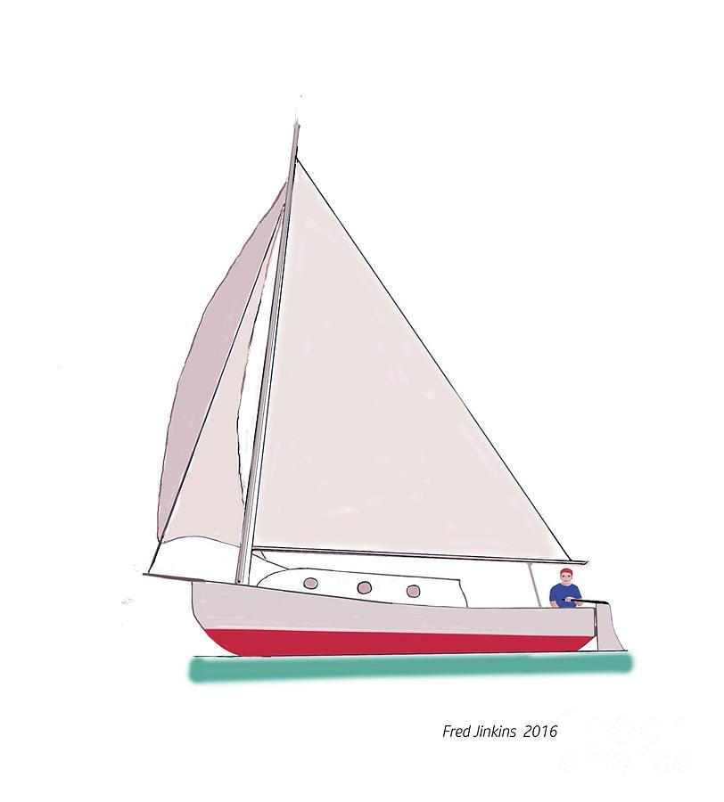 Sailboat Painting - Sailboat Happy Sailor by Fred Jinkins