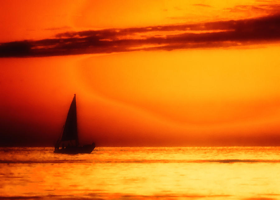 Boat Photograph - Sailboat In Orange by Lyle  Huisken