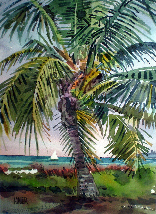 Palm Tree Painting - Sailboat in the Keys by Donald Maier