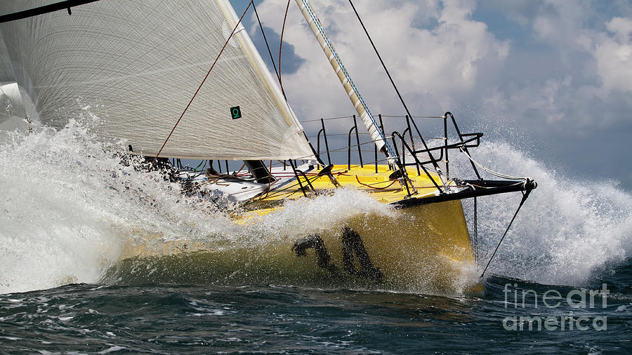 Sailboat Photograph - Sailboat Le Pingouin Open 60 Charging  by Dustin K Ryan