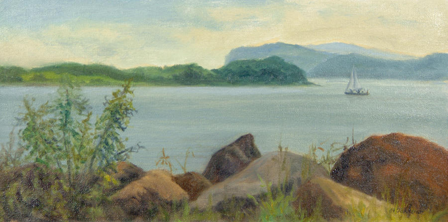 Oil Landscape Painting - Sailboat Near Croton Landing by Phyllis Tarlow