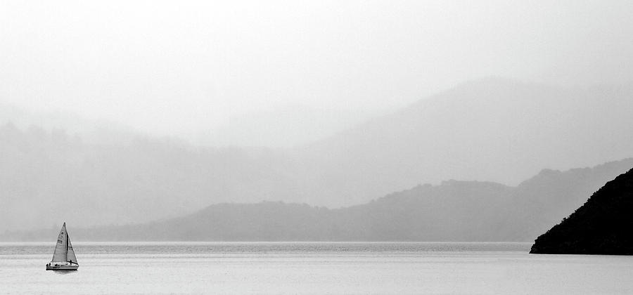 Misty Digital Art - Sailboat On New Zealands Cook Strait by Mark Duffy