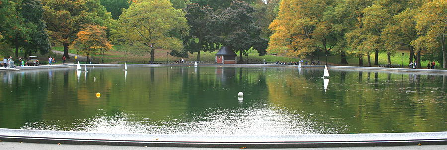 Central Park Photograph - Sailboat Pond Panorama by Christopher Kirby