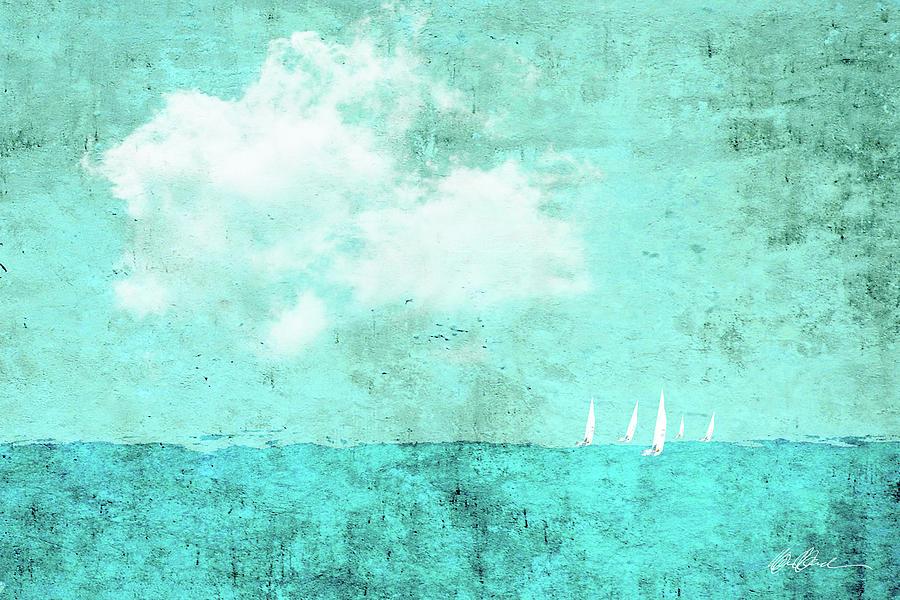 Sailboat Race In Aqua No.2 Digital Art
